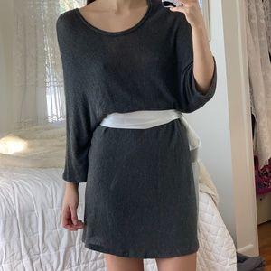 Vintage Gray Long Sleeve Oversized Sweater Dress